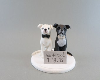 Custom Handmade Dog Wedding Cake Topper