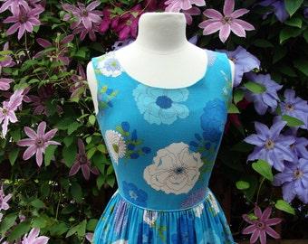 50's Floral Pocket Sheath Dress Cotton Rayon