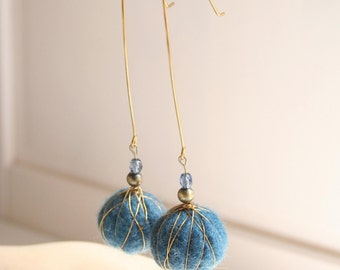 Blue felted earrings