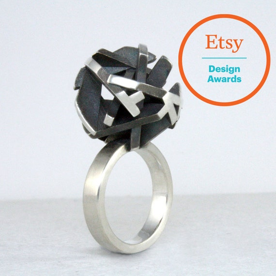 3D printed ring, geometric ring in oxidized sterling silver