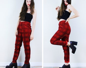 Punk Plaid Skinny Cords . 1970s Skinny Punk Trousers Corduroy pants punk pants corduroy trousers plaid trousers high waisted skinny pants
