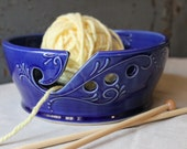 8 inch Yarn Bowl, Wide Rim, Crochet, Knitting, Cobalt Blue, gift, present, Christmas, IN STOCK, ready to ship