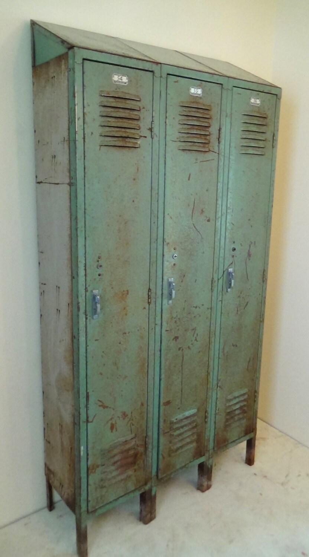 Set Of 3 Vintage Industrial Metal Lockers By Vintageroundtree