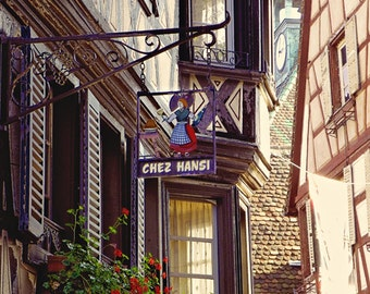 Chez Hansi, France Photography, Colmar, Alsatian Restaurant, Travel Photography, Art Print, Wall Decor