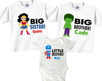 Matching Big Brother, Little brother, Big Sister Sibling T shirt set Tees