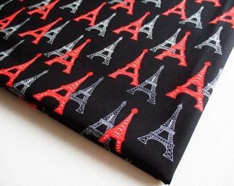 Eiffel Tower Fabric, Paris Landmark, Black fabric, Paris tourist attraction, Dress, ipad case, handmade bag, Lady blouse, Pillow cover Ct317