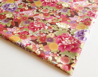 Kimono Fabric Red Pink Yellow Violet Chrysanthemum, Butterfly in Garden, Pink Blue Peony, Pillow cover, Lady Blouse, Gold fabric, KM046
