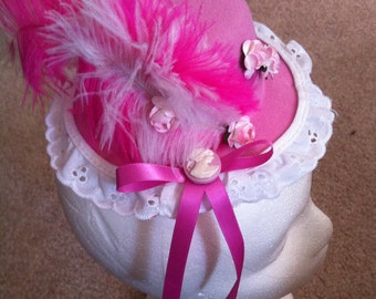 Hot Pink Fascinator on clips