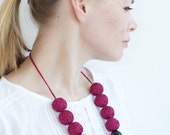 Marsala chunky beads handmade necklace thread cotton for women lace textile wooden beads natural pastel