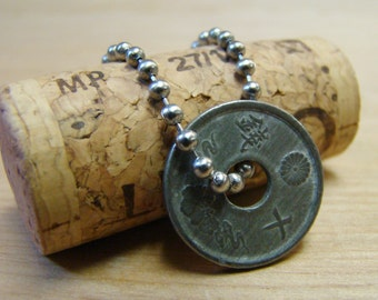 Asian Coin with Stainless Steel Ball Chain
