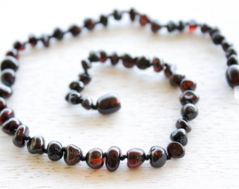 Polished Baltic Amber teething necklace for baby
