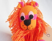 Leo Lion. Sock animal, sock lion, sock monkey, soft plush toy for children.