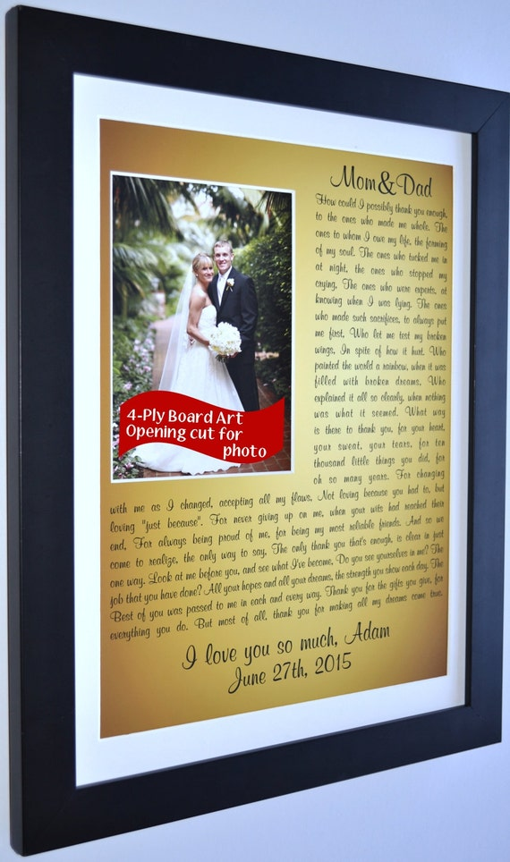 Cool Wedding Gifts For Parents : Wedding Gift Parents Personalized From Bride Groom: Custom Photo Mat ...