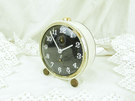 Working 1960s Mid Century Vintage French Jaz Mechanical Wind Up Alarm Clock White with Black Clock Face, Retro Timepiece, Bedroom Decor
