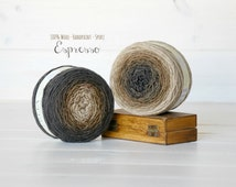 2 Hand Dyed Yarn Balls - 100% Wool - Color: Espresso Ombre - 1Ply Sport Yarn - Shades of Brown - Soft Yarns by Freia - 2 Balls - Wool Yarns