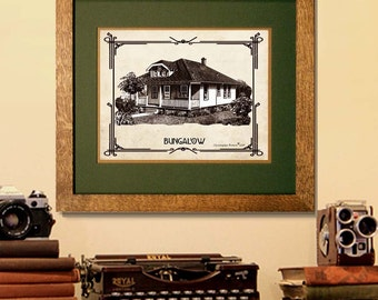 """Fine Art Print - """"Vintage House Style Print - Bungalow"""" - , Examples of American House Styles, Architectural print, Arts and Crafts decor"""