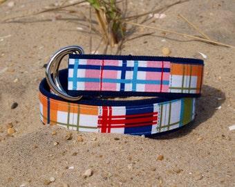 Madras Belt /  Plaid Belt / Summer Belt / Nautical Belt / Canvas Belt for Men / Gifts for Dad / Mens Belt
