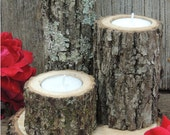 3 Tree Branch Candle Holders, rustic wedding candle holder, wood candle holder,  log candle holders, wood slice, table centerpiece, woodland