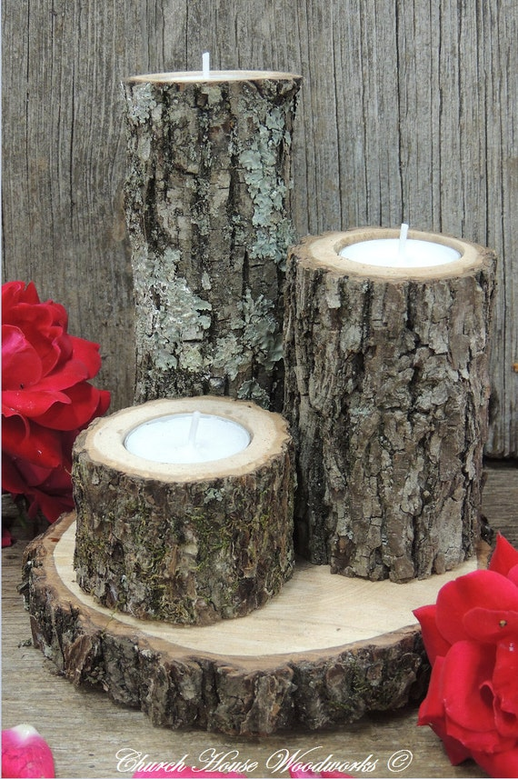 Tree branch candle holders rustic by churchhousewoodworks
