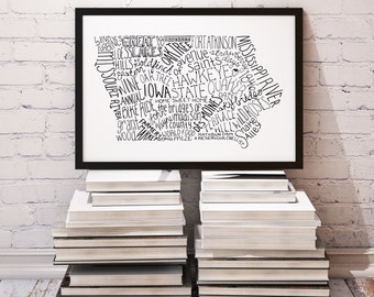 State of Iowa Typography Print; Wall Decor; Wall Art; Christmas Gift; Wedding Anniversary Engagement Graduation Gift Decor