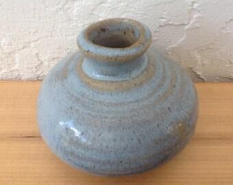 Crady Studio Pottery Vintage Art Pottery, Hand Thrown Vase, Hand Finished Pottery, Light Blue Vase, Brush Washer Shape, Free Shipping