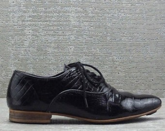 Vtg 80s Black Patent Leather Oxford Lace up Crocodile Pointy Minimalist Shoes 10