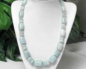Aquamarine Statement Necklace - Aquamarine Necklace - Opaque Aquamarine Necklace - OOAK Aquamarine Necklace - Milky Aquamarine Necklace