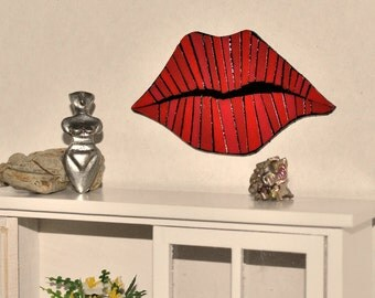 Dollhouse Miniature 60's Mod Pop Art Wall Decor, Mid Century Modern Dollhouse Miniature Mosaic Mod Glossy Red Lips Art Deco, Handmade