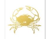Crab Print, Real Gold Foil Crab Picture, Beach Decor, God Foil Crab, Gold Wall Art, Trendy Art, Nautical Wall Art, Crab, Nautical Print