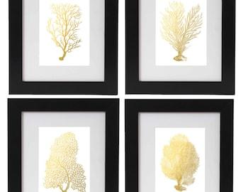 Gold Foil Coral Print Set of 4, Nautical Art, Gold Foil Print Set, Gold Wall Art, Gold Decor, Beach Wedding Decor, Coastal Living, Corals