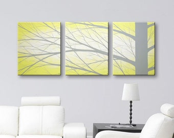 "Wall Decor Canvas Art Yellow Wall Art Tree Paintings Wall Hangings Modern Art Grey and Yellow Home Decor 48x20"" Original Painting"