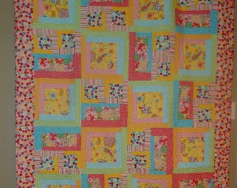 Bright Pastel Patchwork Quilt