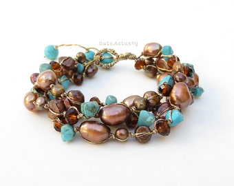 Brown freshwater pearl chunky bracelet with blue turquoise, crystal on silk thread, brown blue bracelet
