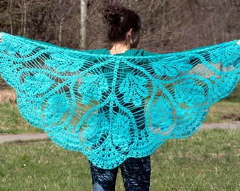 Blue triangle turquoise scarf shawl - mohair and acrylic unique handmade crochet