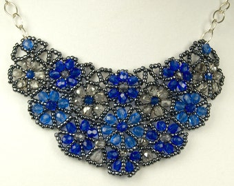 Beaded Gray and Sapphire Blue Flower Bib Necklace, Beadwork Statement Necklace with Sterling Silver Chain, Made-to-Order