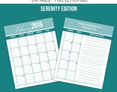 40% Off - 2016 Printable Monthly Calendars- Serenity Edition - Full Size