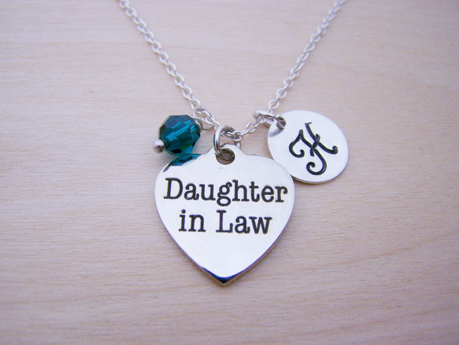 daughter in law charm necklace swarovski birthstone initial