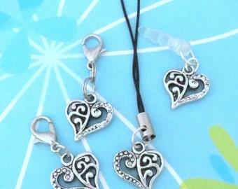 Filigree Heart Charm Zipper Pull, Clip-On Charm, Lanyard, Dust Plug, or Keyring - Perfect for Charm Bracelet, Planner Charm, Phone Charm