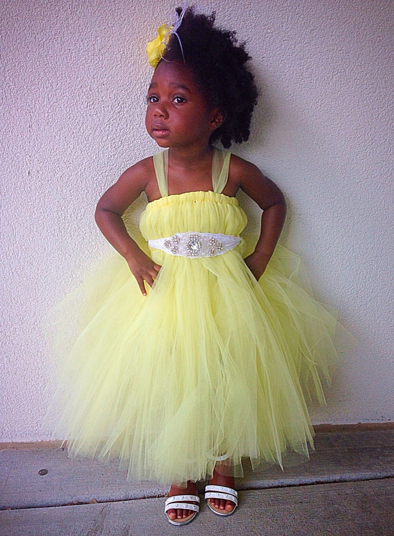 Canary Yellow Flower Girl Dress Yellow Flower Girl Tutu