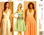 Halter Dress Sewing Pattern Size 14 16 18 20 Evening Party Deep V Neckline Fitted Midriff Special Occasion McCall's M5319 Uncut FFolds