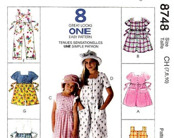 Easy to Sew Girls Rompers Jumpsuits Dress Sewing Pattern Size 7 8 10 Front Button 8 Styles McCall's 8748 Uncut Factory Folds