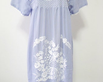 Mexican Embroidered Dress Cotton Tunic In Blue, Boho Tunic, Hippie Dress
