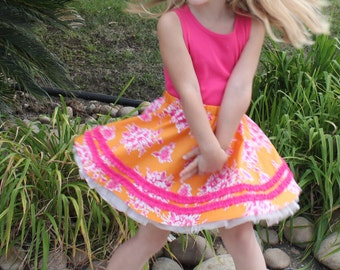 Girls skirt pattern, circle skirt pdf sewing pattern Matilda Jane inspired ruffle twirl, RUCHED RUFFLE