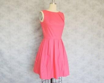 Watermelon Sorbet Dress - Hot Pink, Summer, Sundress, Day Dress, Spring, Pleated