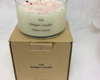 Soy Wax Clean Cotton 3 Wick Candle with Rose Quartz Gemstones