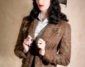 SALE - Tweed Tuxedo Jacket // 1930s Tailored Blazer in Boucle Wool // size UK 12 - US 8