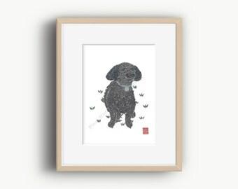 Black Poodle Art , Black Poodle, Poodle Gifts, Poodle Decor, Poodle, Ready to Frame