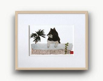 Shiba Inu Art, Black Shiba Inu, Shiba Inu Print, Shiba Inu Wall Decor, 柴犬