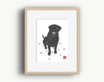 Black Labrador Art, Black Labrador Retriever Gifts, Black Lab Lover