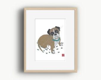 Boxer Dog Art, Boxer Dog Gifts, Boxer Dog Print, Ready to Frame